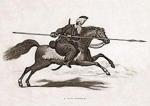 English: Aquatint print of a Don Cossack.