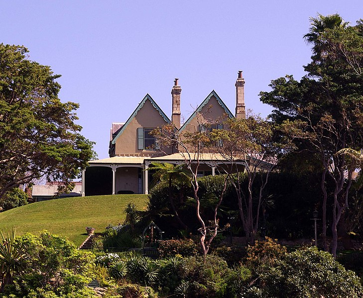 Gabled Gothic style of Kirribilli House, the official Sydney residence of the Australian Prime Minister
