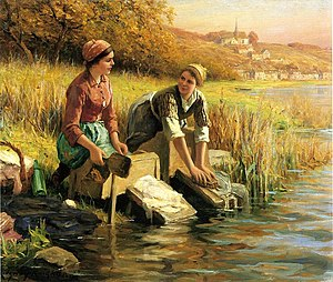English: Women-Washing-Clothes-by-a-Stream