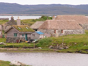 Restored houses at Berneray, Outer Hebrides, S...