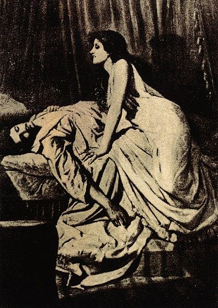 """""""הערפד"""", מאת הצייר הבריטי פיליפ ברן-ג'ונס, 1897"""