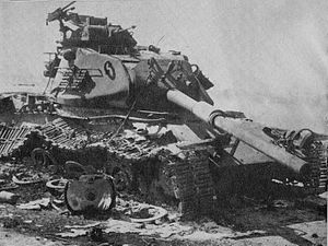 English: An Israeli M60 Patton destroyed in th...