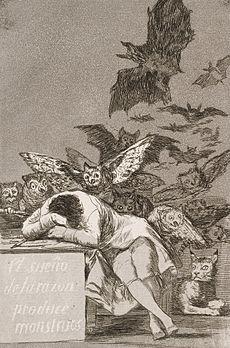 Francisco José de Goya y Lucientes - The sleep of reason produces monsters (No. 43), from Los Caprichos - Google Art Project.jpg