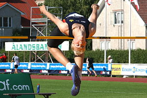 The mens high jump event, at the Island Games ...