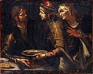 English: Jacob offers a dish of lentels to Esa...