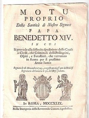Italian version of the papal Motu Proprio enti...