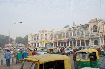Street scene, Connaught Place, Delhi India