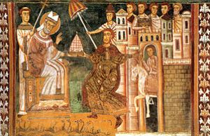 A 13th C. fresco of Sylvester and Constantine,...