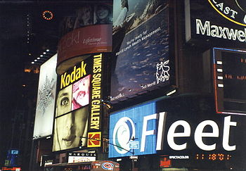 Times Square signs at night