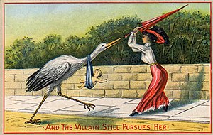 English: A woman swats away the stork which ha...