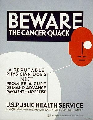 English: WPA poster warning cancer patients to...