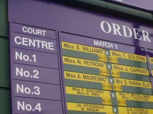 The order of play for all courts is displayed ...