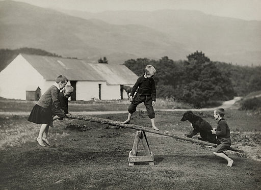 A dog plays on a seesaw with children in Scotland,