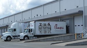 English: A series of Chick-fil-A trucks at the...