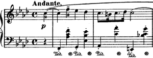 English: Opening bars of Nocturne Op 55, No 1