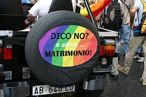 Poster asking for same-sex marriage in Italy a...