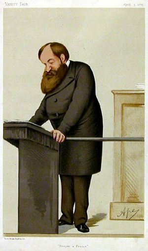 Caricature of Dwight Lyman Moody. Caption read...