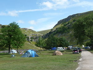 English: Gordale Scar Camp Site near Gordale S...