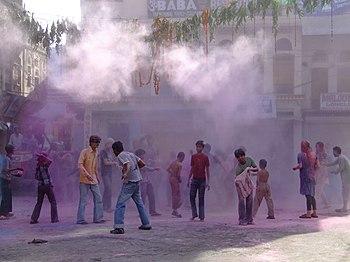 English: Holi celebrations, Pushkar, Rajasthan.