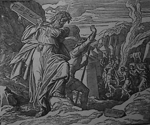 Moses Destroys the Tables of the Law; illustra...