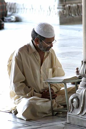 Muslim man at Ramadan. Photograph taken in India.