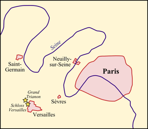 Map of the venues of the 1919/1920 Paris Peace...