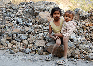 Kids on a road near Rishikesh, India. They are...