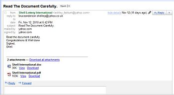 English: Image of lottery winner email scam