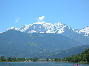 The west face of Mont Blanc, the tallest mount...