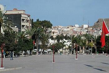 English: A down town square in Al Hoceima, Mor...