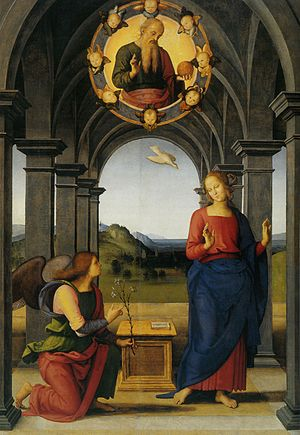Perugino's Annunciation in the church of S Maria Nuova in Fano. Photo credit: Wikipedia