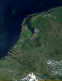 Satellite image of the Netherlands (ca. May 2000)