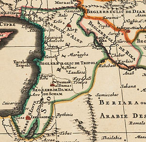 Map of Syria in the Ottoman Empire in 1600.