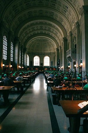 Bates Hall reading room at the Boston Public L...