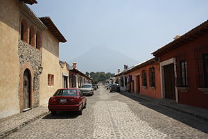 Antigua Street with Volcan de Agua.