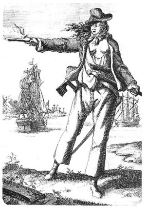 Anne Bonny (1697-1720). Engraving from Captain...