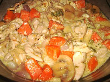 English: Chicken Fricassée