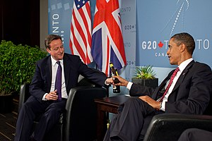 English: US President Barack Obama and British...