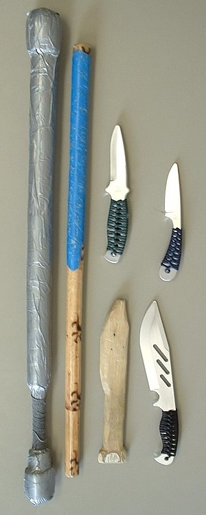 A collection of training weapons used in an Es...