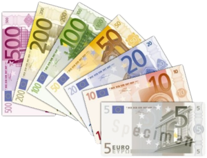 English: Various Euro bills.