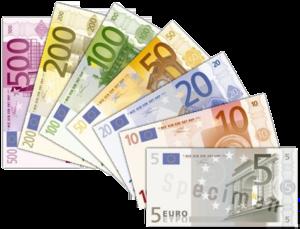 English: Various Euro bills.