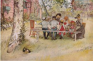 Breakfast under the big birch tree by Carl Lar...