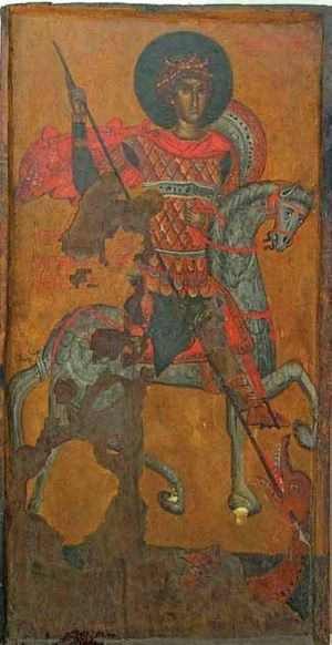 English: Icon of St. George killing the dragon...