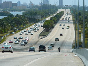 The Julia Tuttle Causeway, one of the major ar...