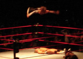 Jeff Hardy hits a Swanton Bomb during a WWE ho...