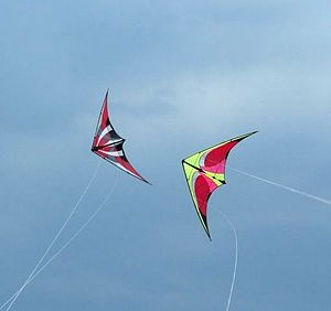 Two dual line stunt kites flying in a formation