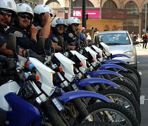 Police motorcycles line up at the 2006 war pro...