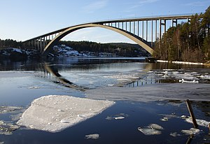 English: A picture of Sandö Bridge in Sweden t...