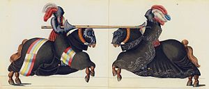 English: Two Knights Jousting Deutsch: Ritterl...