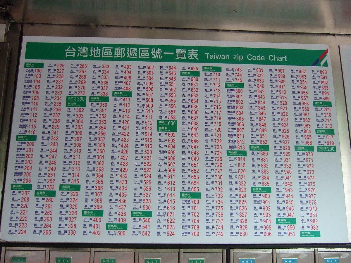 臺灣地區郵遞區號一覽表 - 維基百科,自由的百科全書